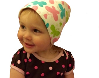 Jaye Children's Flannel Head Cover, Girl's Cancer Headwear, Chemo Scarf, Alopecia Hat, Head Wrap, Cancer Gift for Hair Loss - Butterflies