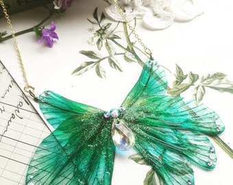NEW magical Blue rainbow wing necklace