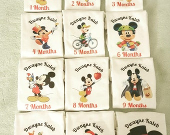Month By Month Personalized Mickey onesies