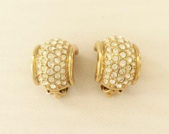 Swarovski Earrings-Vintage Pave Crystal set in Gold Tone Metal -Bridal, Wedding, Mother of the Bride,Bridesmaids, Designer Signed Swan Logo