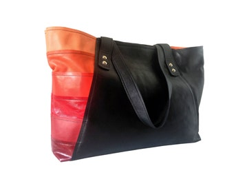 Black leather tote bag with red and orange details. 20% off sale. Black leather carryall bag. Genuine leather shopping bag. Gift for her.