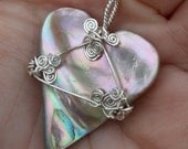 Perfect for Valentine's Day, Abalone Shell Heart Shaped Pendant, Iridescent, silver wire-wrapped, talisman, hand made, ocean, shine, spirals