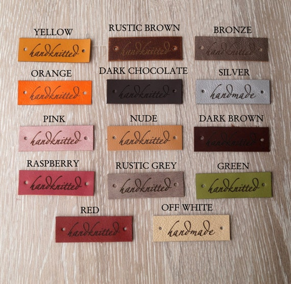 Knitting Labels Personalized : Personalized leather labels custom clothing