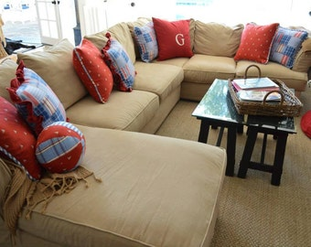 Custom made slipcover for large sectional sofas. Custom pillow covers. Custom cushion slipcovers. High quality, upholstery grade fabric.