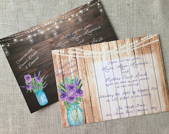 Rustic Elegant Wooden Mason Jar Flower Invitation Wedding or Shower CUSTOM DIY Printed Digital