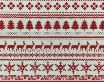 Christmas Fabric,  Red and white Scandinavian style poly cotton,  Xmas crafts, Stockings, QUARTER METRE