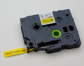 "9mm (3/8"") Laminated Black on Yellow Tape for P-touch Printer (26.2')"