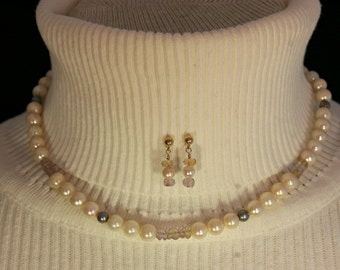 Salt Water Pearl & Ametrine Necklace Set # 138