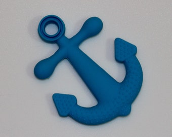 CLEARANCE - 20% OFF - Silicone Anchor Pendant in Blue - Silicone Teething, Silicone Teether, Teething Pendant