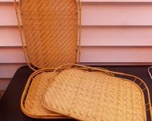 Vintage Bamboo Rattan Wicker Tiki Serving Lap Breakfast TV Trays Set of 4