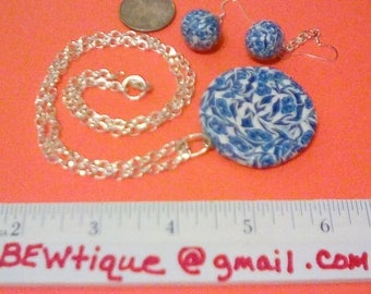 Blue and white necklace and earrings