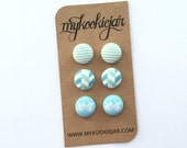 Handmade Fabric Covered Buttons Earrings MINI TRIO - Light Turquoise Stripes, Herringbone and Tiny Bicycle Mini Set, Gift Idea, Lightweight