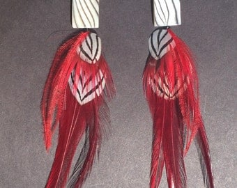 Black and white stripes with red feather statement earrings