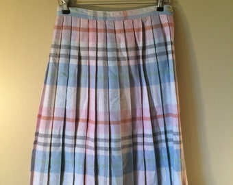 Pretty Pleated Plaid Skirt // Vintage Plaid Skirt // 1970's Pastel Plaid Skirt