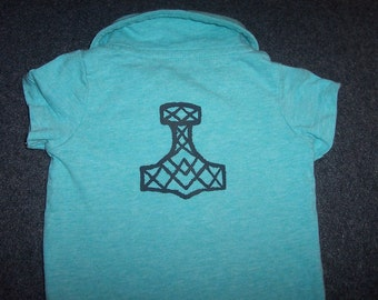 Viking Mjolnir Polo Onesie - Hand Painted - Thors Hammer - Heathen Pagan Viking Norse Baby - Clothing