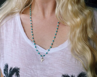 Turquoise Howlite Stone Beaded Shark Tooth Necklace