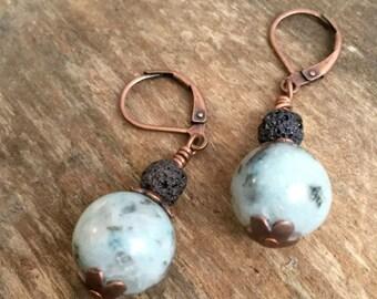 Moonwalker - Wire Wrapped Kiwi Sesame Jasper & Lava Rock Copper Gemstone Earrings With Hinged Ear Wires