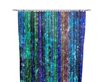 """Boho Chic Window Curtains """"Blue Gypsy"""""""