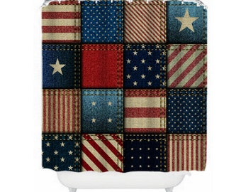 Americana  Patchwork Shower Curtain Red White Blue Vintage Inspired