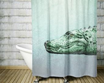 Beautiful Alligator Shower Curtain Soft Teal Grunge Crocodile