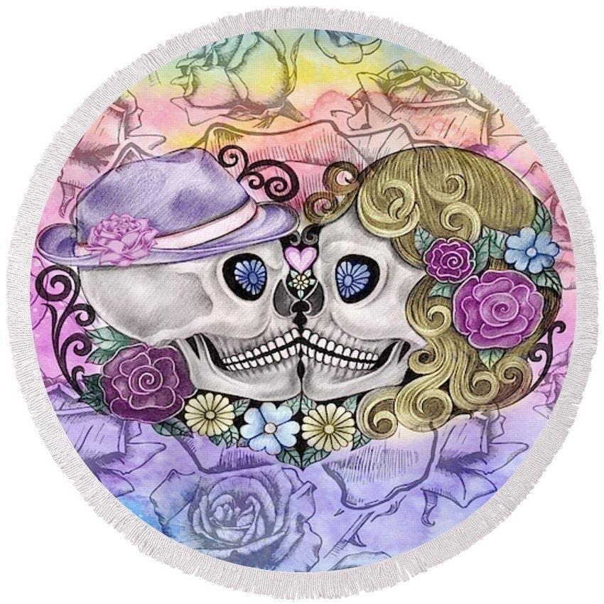 Round Sugar Skull Beach Towel 60 Forever More Skulls