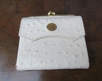 1960's Princess Gardner White Ostrich Wallet