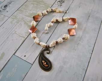 Bronze and Ivory Rock Paisley Necklace