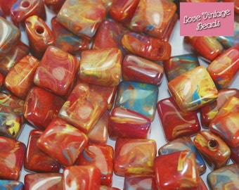 100 x Vintage Beads Red & Multicolour Square Twist Plastic 9mm