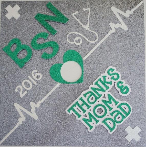 BSN Thanks Mom & Dad Custom Nurse Graduation Cap By