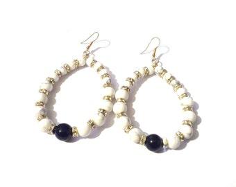 Hoop earrings, howlite earrings, gemstone earrings, big hoop earrings, stone earrings,  white earrings, womens earrings