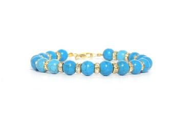 Bracelets, blue and gold bracelet, blue turquoise bracelet, turquoise bracelet, gemstone bracelet, beaded bracelet