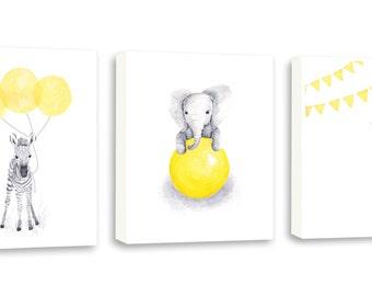 Nursery Animal Art, Baby Gift, Baby Wall Art, Elephant, Zebra, Giraffe Art, Limited Edition Set Of Three Gallery Wrapped Canvas - SO67WC