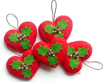 Christmas Heart Ornament, Red heart, Red & Green heart decoration, Heart, Christmas ornament, Red, Felt Christmas Heart ornaments, Set Heart