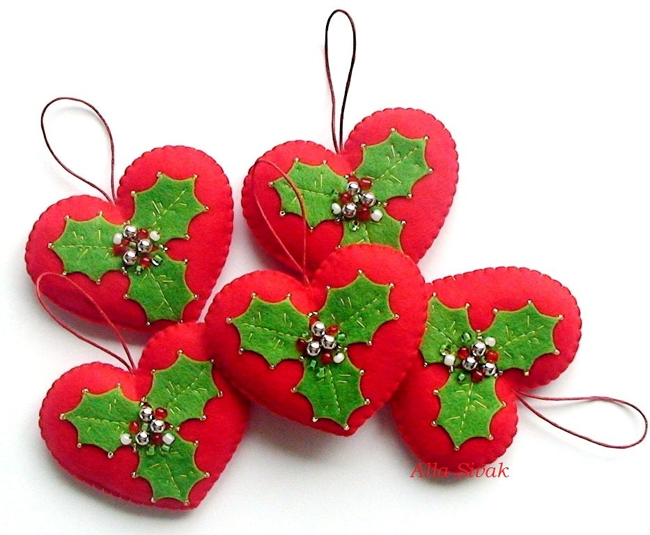 Christmas Heart Ornament Red heart Red & Green heart