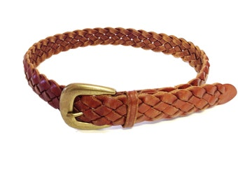 Brown Woven Genuine Leather Belt - Size XS / S