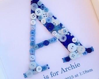 Custom Letter Sign - Custom Letter Art - Custom Button Art - Personalized Sign - Baby Shower Gift - Button Nursery Decor - Framed Button Art