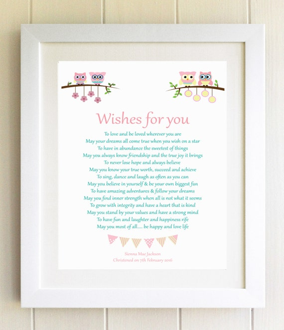 Christening Gift Plaque Naming Ceremony New Baby Gift Wishes