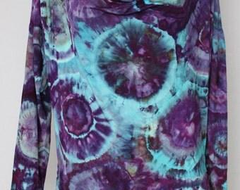 Tie dye  Ice Dyed cowl neck tunic - Size Small - Helen's Iris Patch bullseye