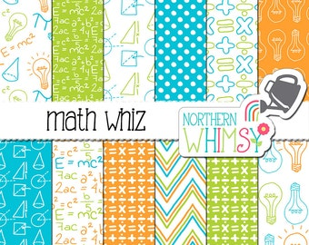 """Back to School Digital Paper - """"Math Whiz"""" - algebra and geometry scrapbook papers in orange, aqua & lime - printable paper - commercial use"""