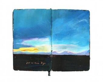 "Fine Art Print - Original England Landscape Painting from Artist Travel Journal - ""Exmoor Sunset"""