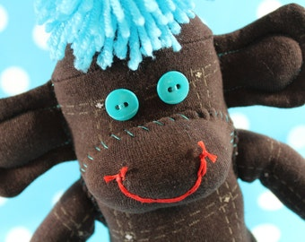 Sock Monkey / Chocolate Brown and Turquoise / Nursery Decor / Baby Shower Gift / Unique Gift / Gifts for Him / Gifts for Her / Blue Brown