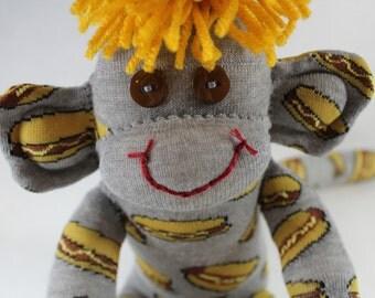 Sock Monkey / Hot Dog / Grey Mustard Yellow Brown / Sock Monkey with Hot Dogs and Mustard / Unique Gift / Foodie Gift / Food Decor