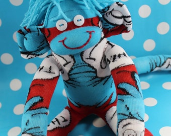 Sock Monkey / Thing 1 Thing 2 / Dr. Seuss Sock Monkey / Red Blue White / Nursery Decor / Baby Shower / Thing One and Thing Two / Unique Gift