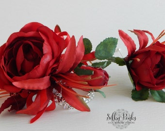 Wedding Wrist Corsage & Boutonniere Set, Red Rose Diamante Wristlet and matching Rose Gents Boutonniere