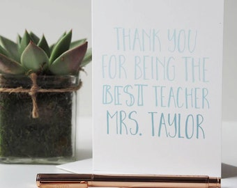 Thank You Teacher Card - Best Teacher Card - Teacher Card - Thank You Card - End of School Card - End of Term Card - Personalised Card