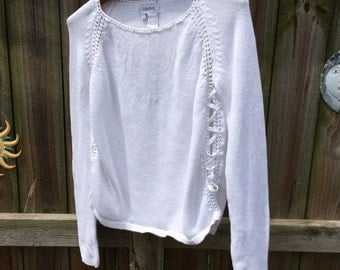 VINTAGE CROCHET SWEATER, lace up/open sides