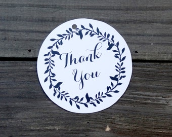 Thank You Floral Wreath Black & White Gift Tags - Set of 10
