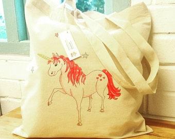 Unicorn Tote Bag Cute Unicorn bag Artist tote Book bag Shopping bag Childs bag Magical unicorn PE bag Girls unicorn bag personalised