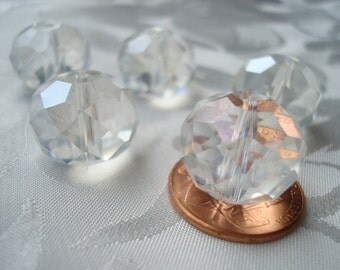 16mm Giant Crystal Clear Faceted Rondelles. 16x14mm Pure Cool Loveliness. 10/20pc Luster Finish, Clear or AB.  Hand Cut. Center Drilled.