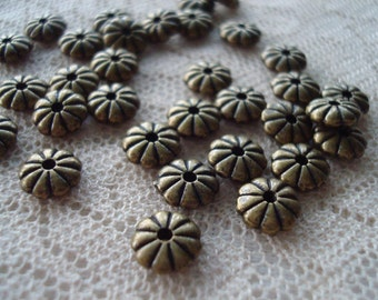 50 Fluted Bronze Flower Spacers. 7x2.5mm. Solid Pewter. Heavy. 1.3mm Hole. Antique Bronze Disk/Abacus/Rondelle/Flat Spacers ~USPS Ship Rates